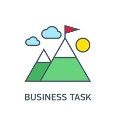 flag on the mountain peak winning strategy vector image