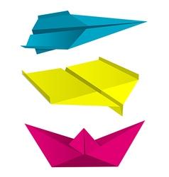 Origami aeroplanes boat print colors vector