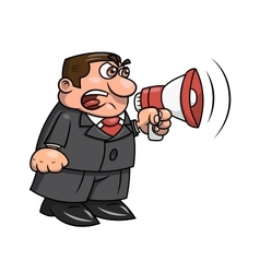 Boss yelling into megaphone 2 vector