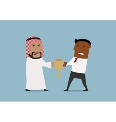 Arabian and black businessmen fighting for trophy vector