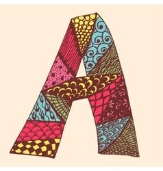 Vintage monogram a doodle colorful alphabet vector