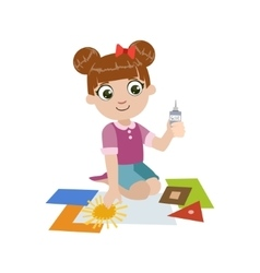 Girl gluing the paper application vector