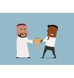 Arabian and black businessmen fighting for trophy vector