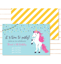 Baby shower invitation template with cute unicorn vector