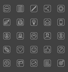 Blogging outline simple icons vector