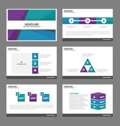 Blue green purple presentation templates design vector