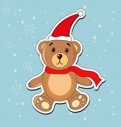 Christmas bear in a cap of santa claus vector