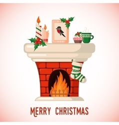 Christmas card with fireplace vector