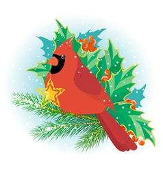Christmas cardinal vector image vector image