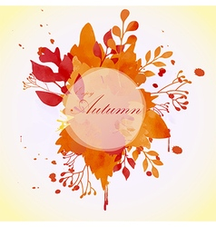 Floral autumn concept of circle frame vector