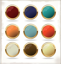 golden blank badges vector image