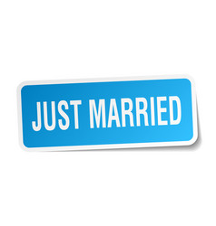 Just married square sticker on white vector