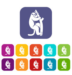 Macaque on a tree icons set flat vector