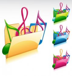 music folder icon vector image vector image