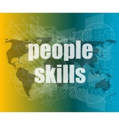 People skills words on digital touch screen vector