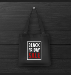 Realistic black textile tote bag with the vector