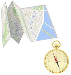Road map and compass vector image