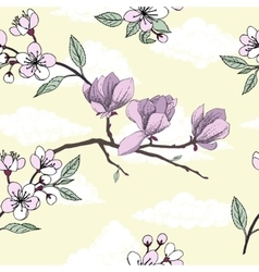Seamless pattern with magnolia vector