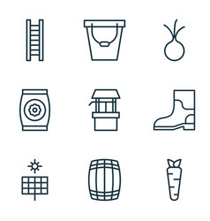 Set of 9 plant icons includes stairway root vector