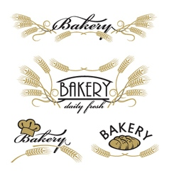 set of bakery product logos vector image vector image