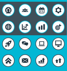 set of simple teamwork icons vector image