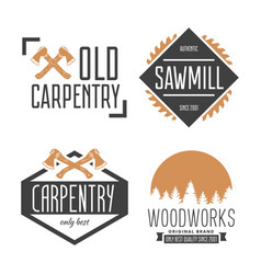 Set of vintage carpentry woodwork and mechanic vector
