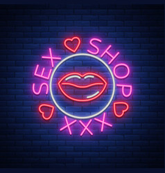 sex shop logo emblem in neon style neon effect vector image