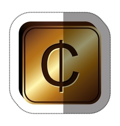 sticker golden square with currency symbol of cent vector image vector image
