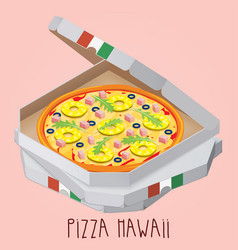 The real pizza hawaii italian pizza in box vector