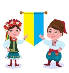 Ukrainians The man and the woman against a flag vector image