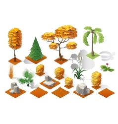 Isometric plants forest collection set fall trees vector