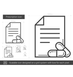 Prescription line icon vector