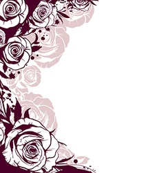 Edge is decorated with flowers roses vector