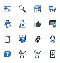 Shopping and e-commerce icons set 2 - blue series vector
