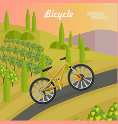 Racing yellow bicycle on the asphalt track vector