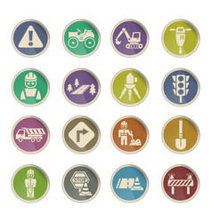 Road repairs icon set vector