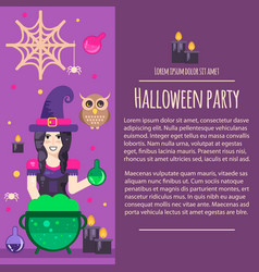 Halloween witch letterhead template vector