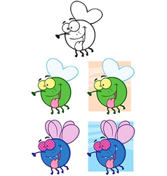 Fly Cartoon Characters Collection vector image