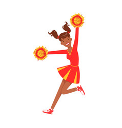 cheerleader girl jumping with red and yellow vector image