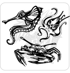 Set - aggressive marine life vector