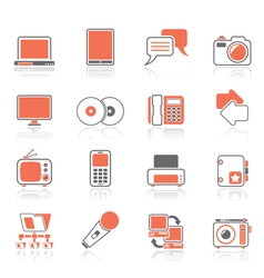 Communication and connection technology icons vector