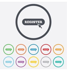 Register with cursor pointer icon membership vector