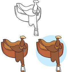Cartoon horse saddle vector image