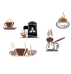 coffee and tea symbols and icons vector image