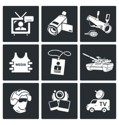Risk of journalism in war icons set vector