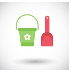 Pail and shovel vector