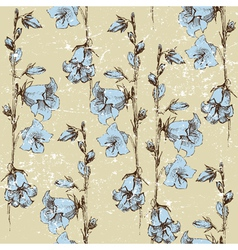 seamless retro-styled background with bluebells vector image