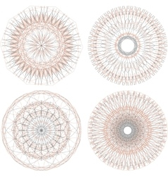 Abstract circular guilloches Set of 4 mandalas vector image