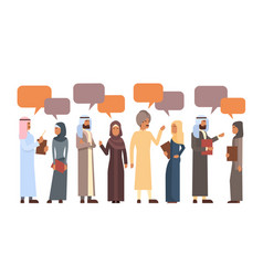 Arab people group chat bubble communication vector