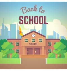 Back to school poster with schools building vector